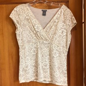 Ann Taylor cream lace top size M